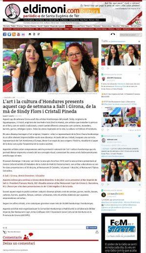Gracias al Diario virtual www.eldimoni.com por el reportaje a Sindy Flore y Cristal Pineda artistas catrachas en Girona