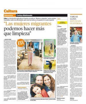 El Heraldo de Honduras le realizó una entrevista a Cnthya Maldonado por la presentación de su libro Mujeres migradas